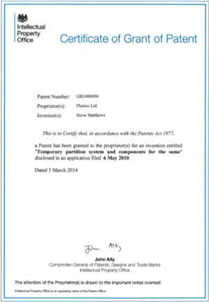 Certificate of patent granted