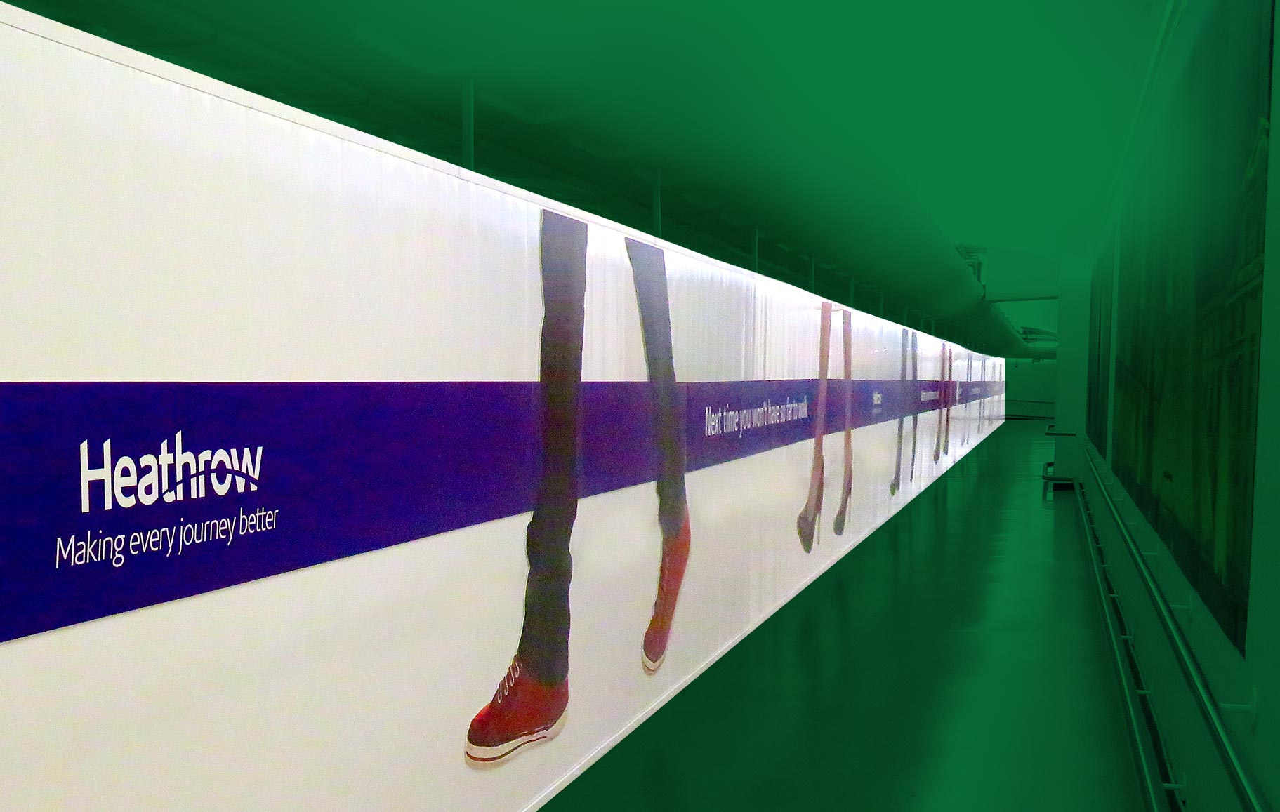 Internal hoarding installation for Heathrow Airport