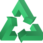 Green recycling triangle